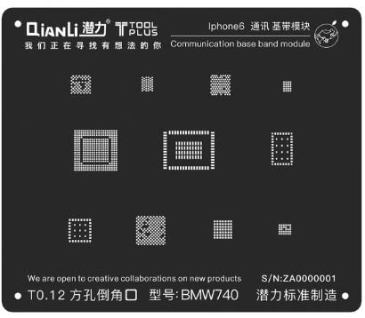 Stencil 3D Black Base Band iPhone 6 Qianli
