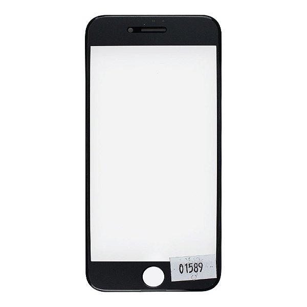 Vidro Frontal Iphone 7 4.7 Preto Com Moldura