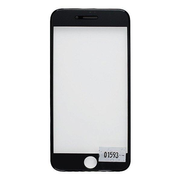 Vidro Frontal Iphone 8 4.7 Preto Com Moldura
