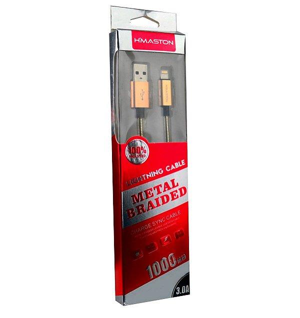Cabo dados Hmaston metalizado lightning iphone xt2-2 dourado