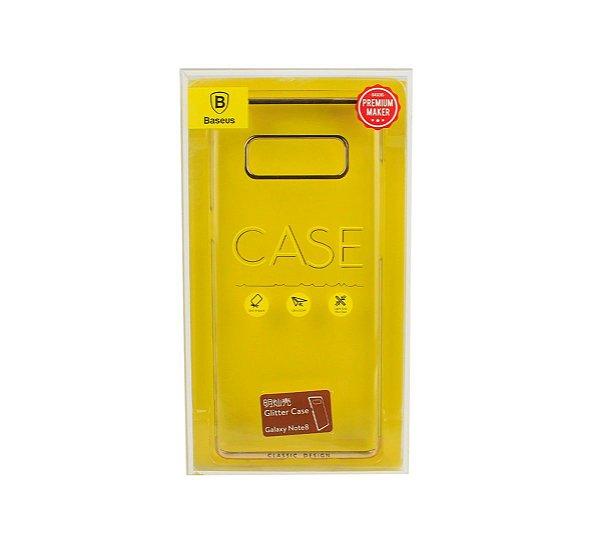 Capa Note 8 glitter case Baseus dourada