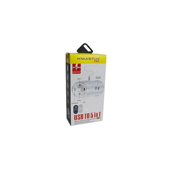 Carregador 5 em 1 wireless iphone micro usb tipoc usb HC-888 branco