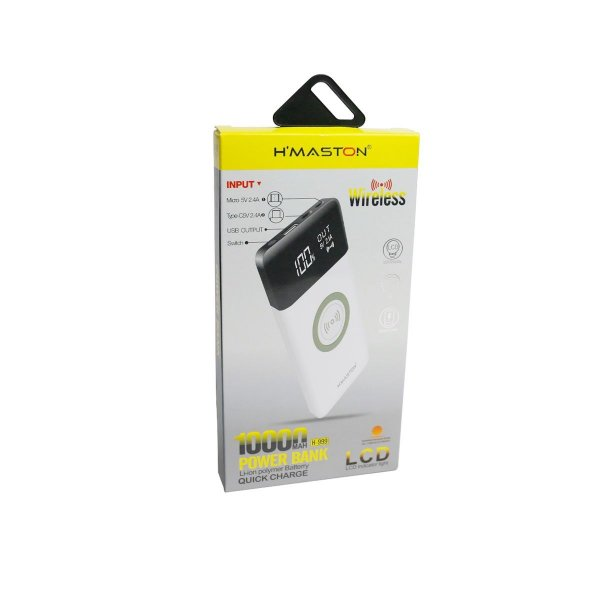 Carregador Portátil Power Bank Wireless Hmaston 10000mha H-999 branco