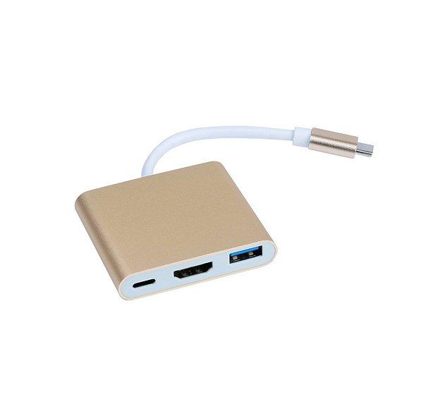 Adaptador tipo c 3x1 HDMI USB Tipo c dourado