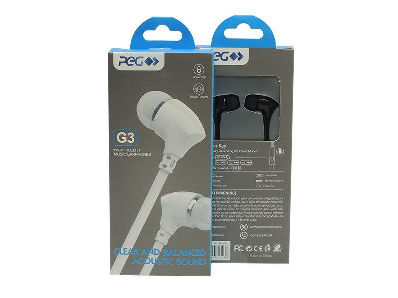 Fone De Ouvido P2 PEG G3 Acoustic Sound Branco