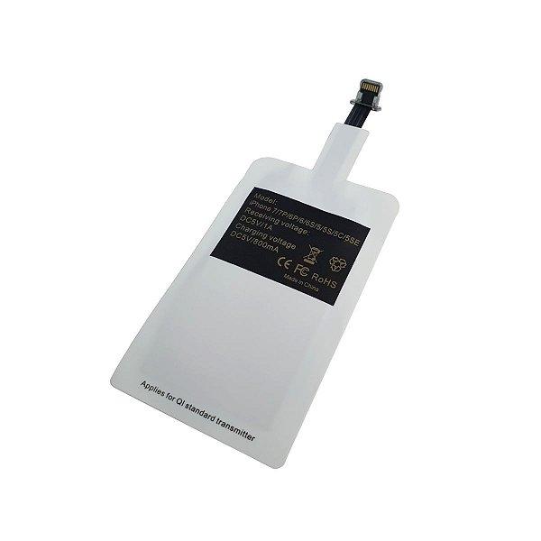Adaptador Receptor Wireless Indução Qi Sem Fio Lightning