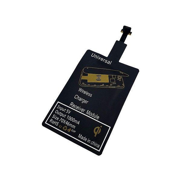 Adaptador Receptor Wireless Indução Qi Sem Fio Micro USB V8