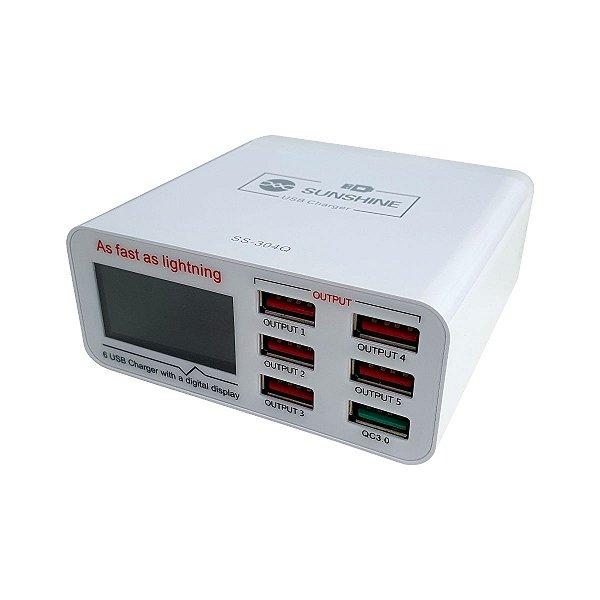 Carregador USB Medidor De Corrente E Tensão SS-304Q 6P