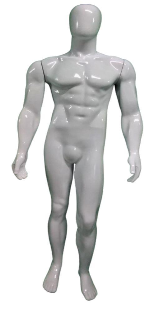 Manequim Adulto Masculino Branco de Fibra Luxo - Com Pintura Automotiva de Alta Resistência - (Acompanha Base) - 185 CM Altura x 55 CM Largura x 30 CM Profundidade - Pronta Entrega - Estoque Limitado