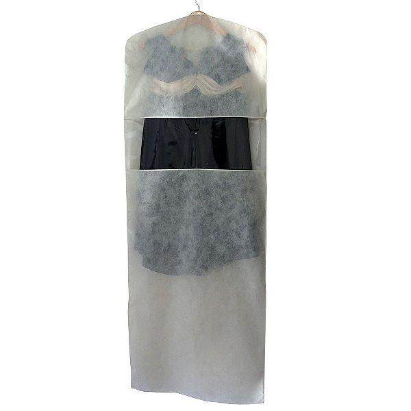 Capa para Vestido Bege com Visor Central 1,50 m x 55 cm - Lavável - CAIXA 15 Peças - Produto 100% Nacional - Fazemos sob medida whats (11) 97143-1706