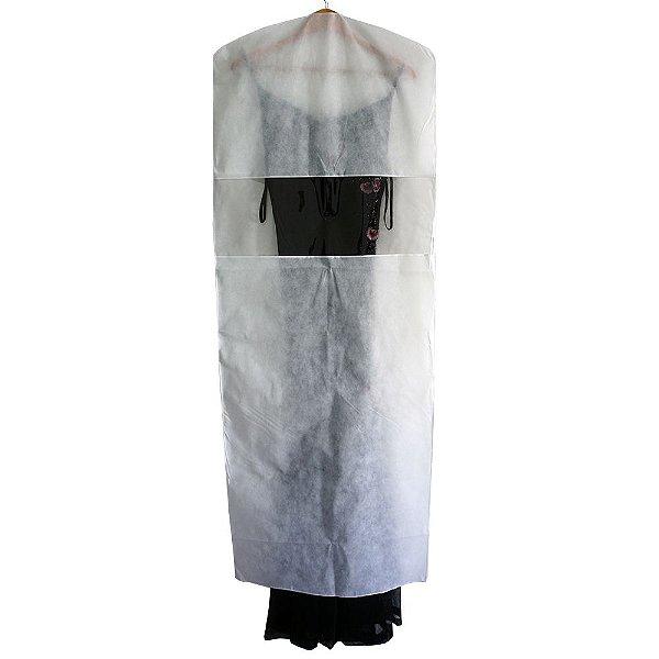 10 Capas para Vestido Brancas 150cm x 55cm - com Visor Central - Lavável - Produto 100% Nacional