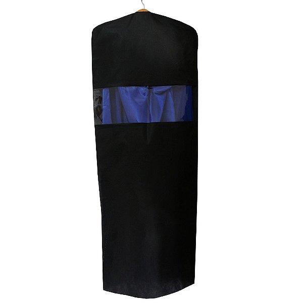 10 Capas para Vestido Pretas 150cm x 55cm - com Visor Central - Lavável - Produto 100% Nacional