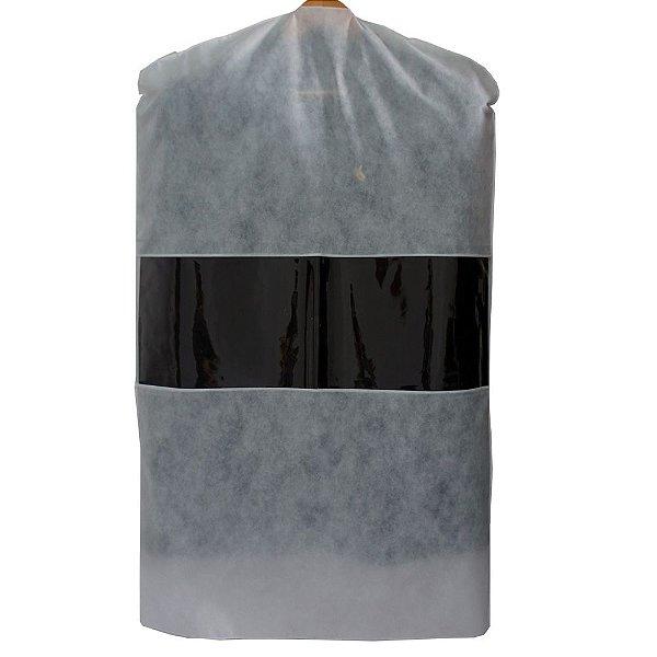 10 Capas para Terno Brancas 100cm x 60cm - com Visor Central - Lavável - Produto 100% Nacional