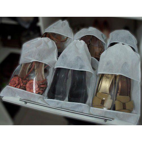 40 Sacos para Sapatos Brancos com 38cm Altura x 28cm Largura - TNT, com Visor - Lavável - Produto 100% Nacional