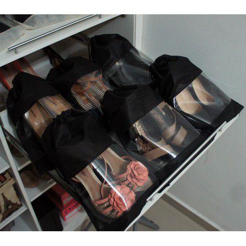 40 Sacos para Sapatos Pretos com 38cm Altura x 28cm Largura - TNT, com Visor - Lavável - Produto 100% Nacional