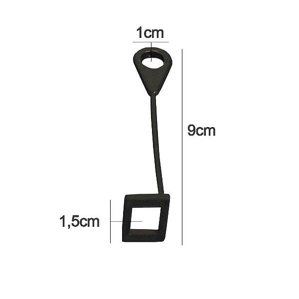 Extensor Prolongador de Cabide Preto - Kit 100 Unds - Altura 9 cm - Diâmetro do furo 1 cm  - Base quadrado de 1,5 cm