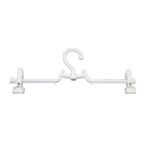Cabide Para Saia e Calça Giratório Com Presilha Branco - CAIXA  350 PÇS - 12cm (altura) x 35cm (largura) x 1cm (espessura)