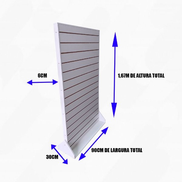 Gôndola De Chão  ,Dupla Face , com Rodas  Reforçadas de  Painel Canaletado - 1,67M A X 90CM L- MDF18 - Branco - Pronta entrega - Fabricamos em outras medidas whats: (11) 97143-1706