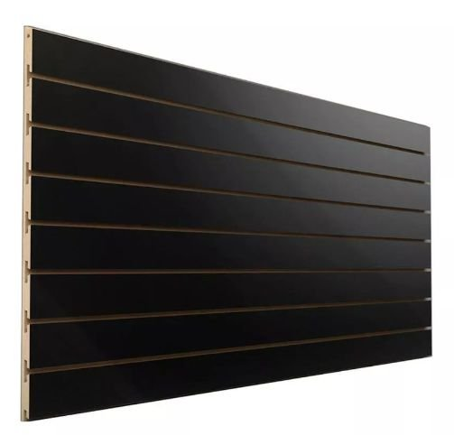 Painel Canaletado Preto 91cm Largura x1,83 M Altura x 10 cm entre Canaletas - 17 Frisos - MDF de 18 mm