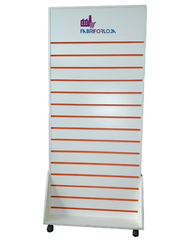 Gôndola Dupla Face  De Chão Frente Lisa  com Espaço para Logo Tipo - 1,83 m A x 90 cm L  - Com Rodas na base - Com Canaletas de PVC nos Frisos -  Painel Canaletado MDF18 - Branco - 34 frisos