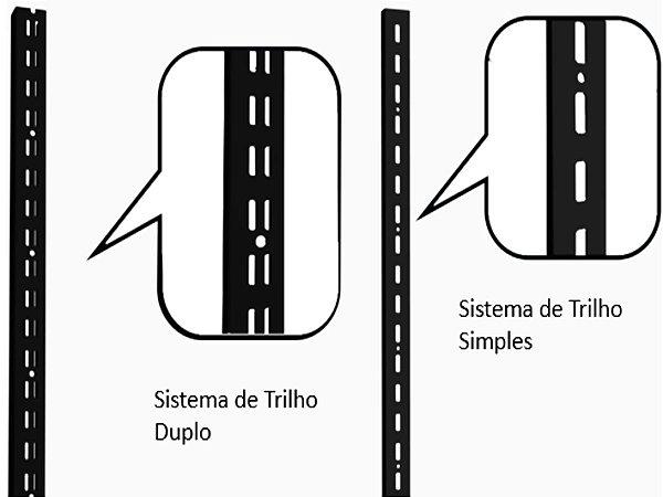 Trilho para Cremalheira com Furação Simples ou Dupla- 1,99M - Cores Preto , Branco e Cromado - Clique na foto para ver detalhes