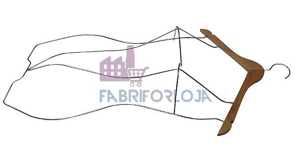 Cabide  Silhueta Body 3D de Madeira com Corpo em aço Cromado - Adulto -  Marfim Claro-CAIXA 15  PÇS - 81 cm altura x Profundidade Busto : 9 cm - Tempo de fabricação 5 a 8 dias úteis