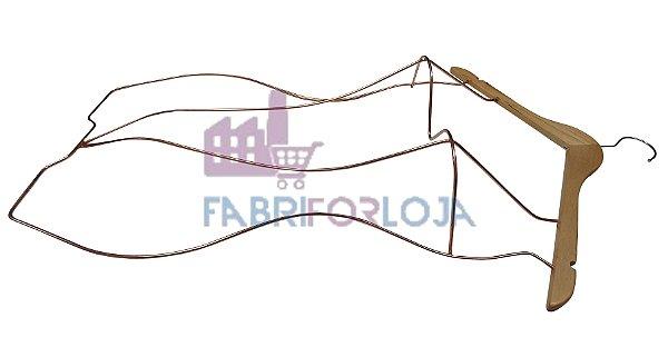 10 Cabides Modelo Silhueta 3D - Adulto - em Madeira (Marfim Claro) com Corpo em aço Rose