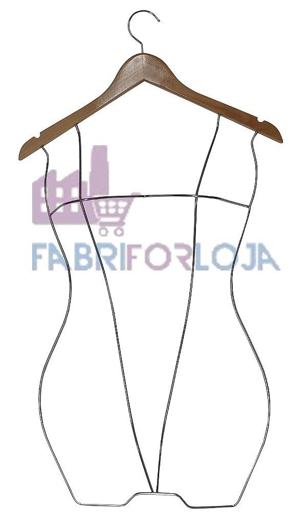 Cabide  Silhueta Infantil  Body 3D de Madeira com Corpo em aço Cromado -  Marfim Claro-CAIXA 15  PÇS - 70 cm altura x Profundidade Busto : 9 cm - Tempo de fabricação 5 a 8 dias úteis