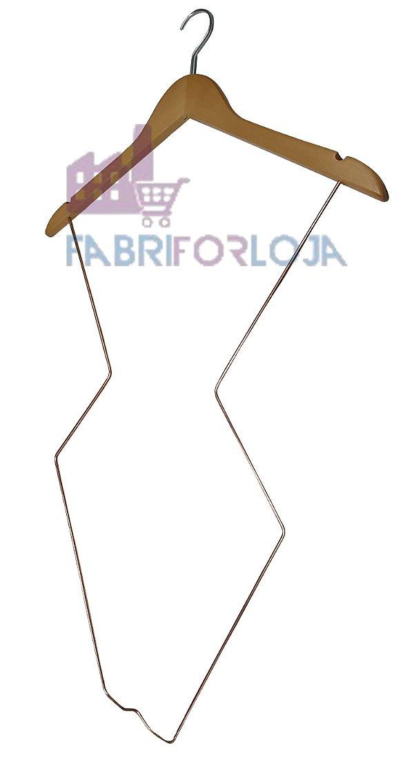 Cabide  Silhueta Infantil  de Madeira com Corpo em aço Rose - Super Luxo -   Marfim Claro-CAIXA 10  PÇS - 55 cm altura- Tempo de fabricação 5 a 8 dias úteis