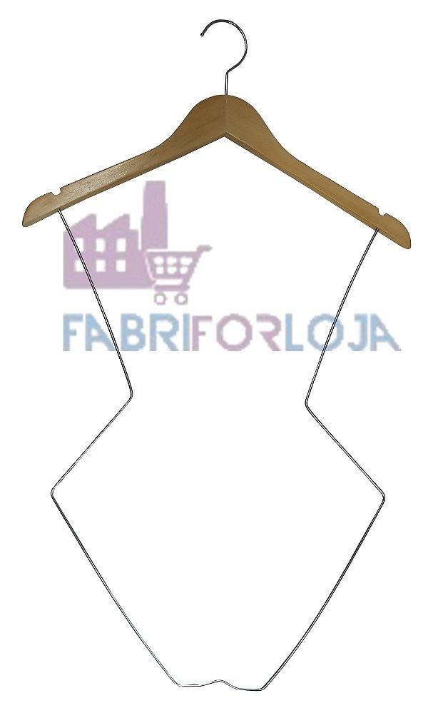 5 Cabides Modelo Silhueta -  Infantil -  em Madeira (Marfim Claro) com Corpo em aço Cromado