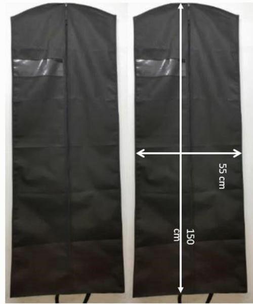 Capa para Vestido Longo Preto com Visor Lateral + Zipper Frontal + Alças para carregar + KIT com 10 ,20 e 30 Pçs + Cabides de Brinde - Lavável em Máquina - 150 cm x 55 m