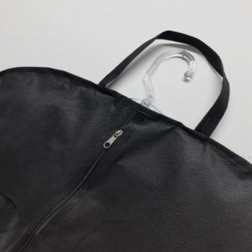 10, 20 ou 30 Capas para Terno Pretas 95cm x 58 cm - com Visor Lateral, Zipper Frontal e Alças para carregar - Lavável - Produto 100% Nacional