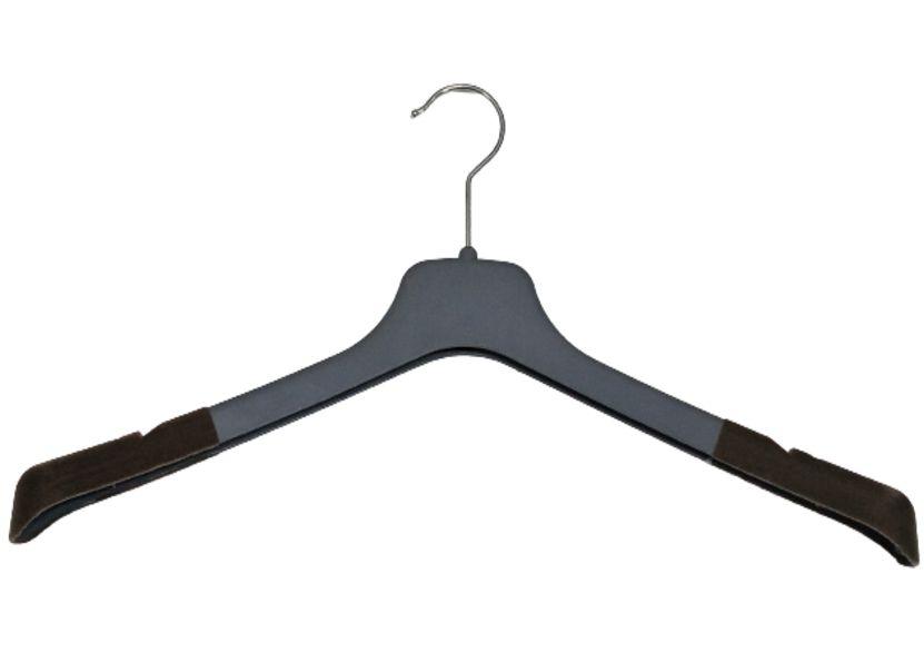 50 Cabides  Veludo p/ Terno e Camisas  Soft  Reforçado Cinza com Extremidade Aveludada e Cavas- Adulto - 44 cm Largura X 20 cm Altura X 1,4 cm Espessura - PRONTA ENTREGA
