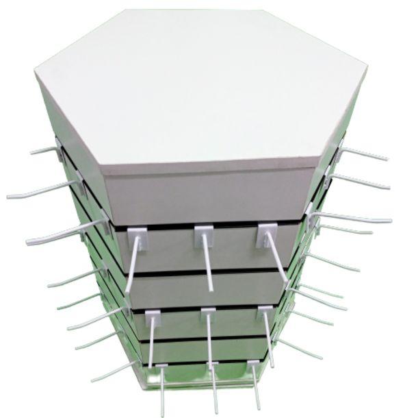 1 Expositor para Balcão  Giratório  Canaletado  Hexagonal   - 6  Lados  24 cm x 65 cm  Altura -MDF 18mm Branco + 50 Ganchos de 15 cm Branco- Pronta Entrega