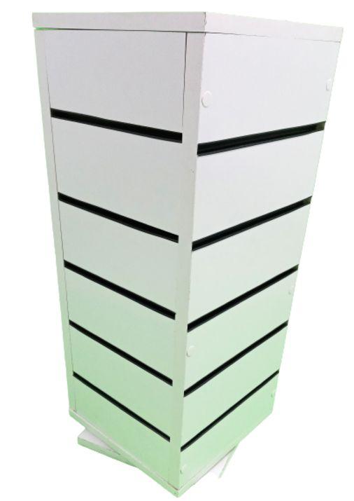 Expositor para Balcão  Giratório  Canaletado  Quadrado  - 4  Lados  24 cm x 65 cm  Altura -MDF 18mm Branco + 25 Ganchos de 15 cm Branco + Canaletas de PVC nos Trilhos  - Pronta Entrega