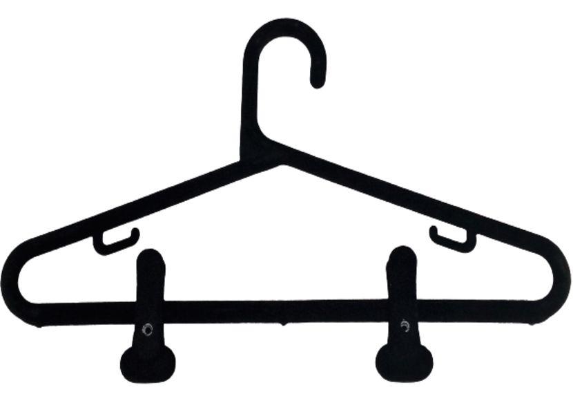 20  Cabide de Veludo Preto + 40 Presilhas Veludo - Extra Reforçado - Modelo Tradicional -  40 cm Larg. x 20cm Altura x 1cm Diâmetro- Pronta Entrega - Whats 11-97143-1706
