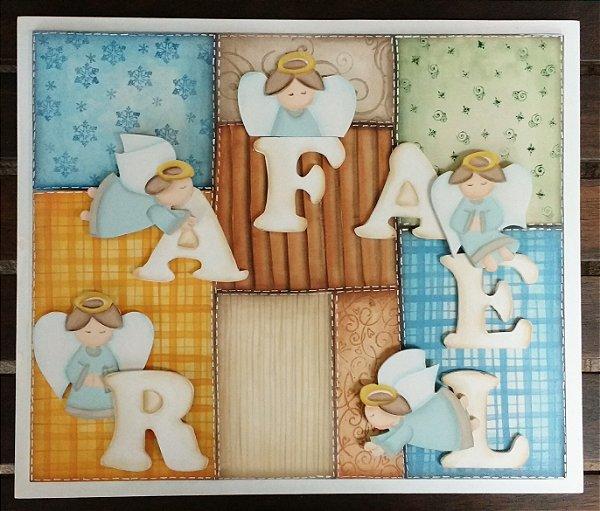 Enfeite Porta Maternidade Patchwork Anjinhos