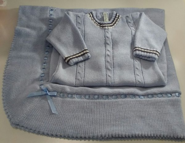 Conjunto Saída Maternidade menino tricô azul