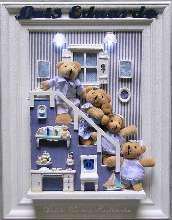 Enfeite porta maternidade família ursos com luz lad