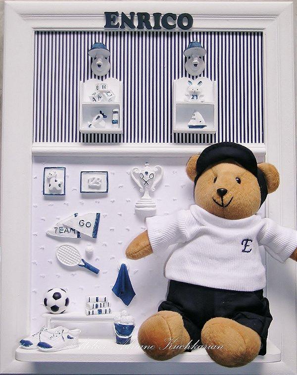 Enfeite Porta Maternidade Ursinho Tenista Personalizado
