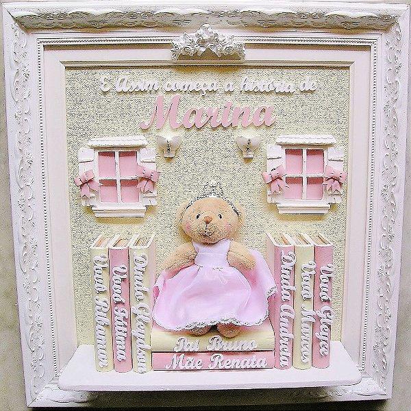 Enfeite Porta maternidade Ursinha Livros