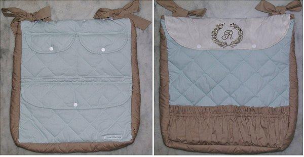 Porta Fraldas e Porta objetos bordado com inicial
