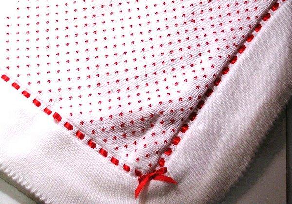 Manta tricô de linha com passa fita