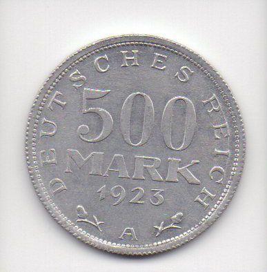 Moeda de 500 marcos de 1923 Alemanha