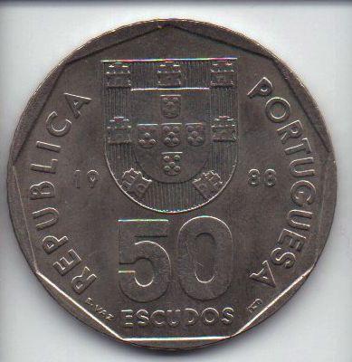 Moeda de 50 escudos de 1988 Portugal