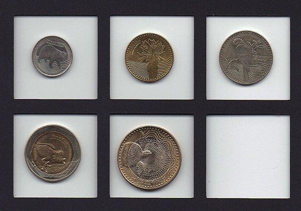 set de moedas FAUNA 50,100, 200, 500 e 1000 pesos da Colômbia