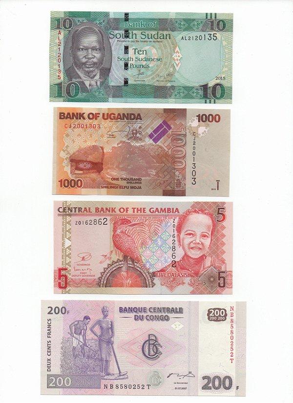 Lote com 4 Cédulas Estrangeiras - África 2