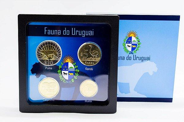 Display de Plástico Uruguai com 4 moedas