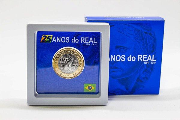 Mini Display com 1 moeda comemorativa dos 25 anos do Real