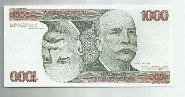 RARA CÉDULA DE 1000 CRUZEIROS MARIO HENRIQUE SIMONSEN CATÁLOGO C1153 FE